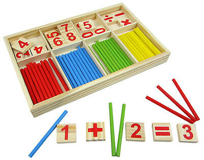Wooden Montessori Mathematics Material Early Learning Counting Toy for Kids *H