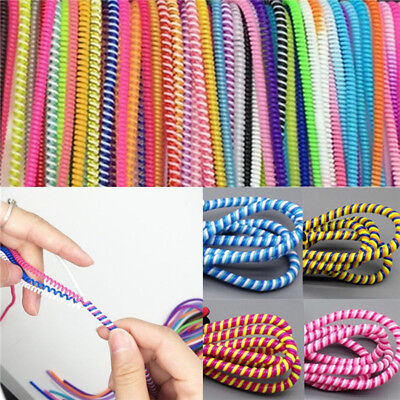 10PCS Spiral Phone USB Data Charging Cable Wire Cord Wrap Protector DIY Winde *H