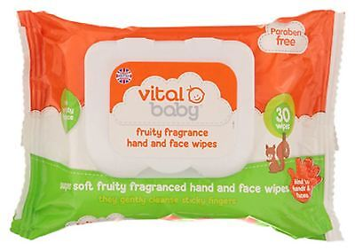 Vital Baby FRUITY HAND AND FACE WIPES Baby Child Feeding - BN