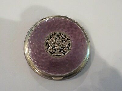 Austrian Sterling Silver Guilloche Enamel Compact, Reticulated Decoration