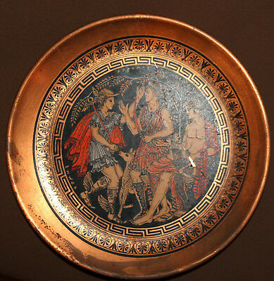 Vintage Greek souvenir copper wall hanging plate Artemis & Apollon