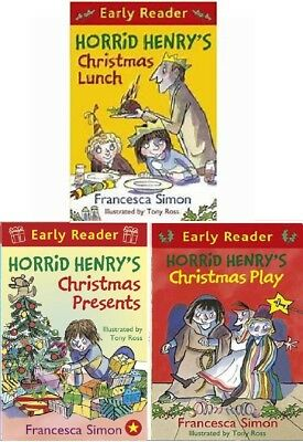 NEW 3 x HORRID HENRY EARLY READER Christmas Lunch Presents Play Xmas