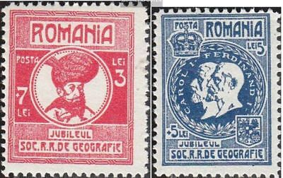 Romania 303-307 (complete.issue.) with hinge 1927 geographical Society