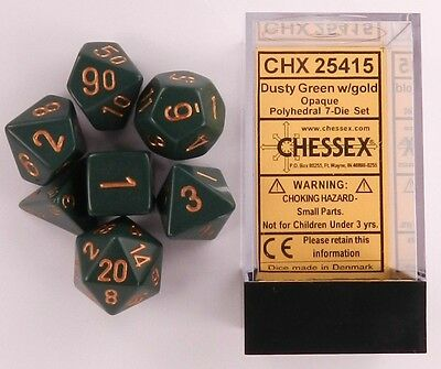 Chessex 7 Dice Set Opaque Blue with White CHX 25406 for D/&D /& D20