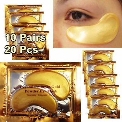 10 Pair Crystal Collagen 24k Gold Under Eye Gel Pad MASK Anti-Aging Wrinkle