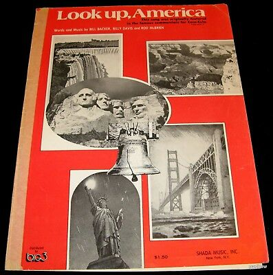 Coca Cola Look Up America 1974 Photo Music Sheet Liberty Bell Mt Rushmore