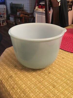 """Vintage Glasbake Turquoise Aqua Bowl W/ Pouring Spout for Sunbeam Mixer 5"""" By 7"""""""