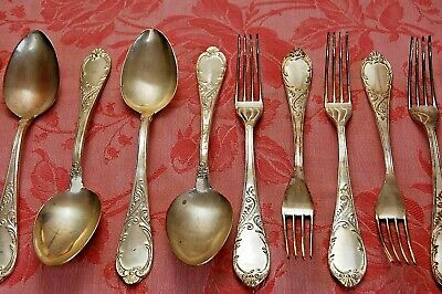 LOT of 6 Forks 6 Spoons SET Vintage French Flatware Cutlery Unpolished Decorated