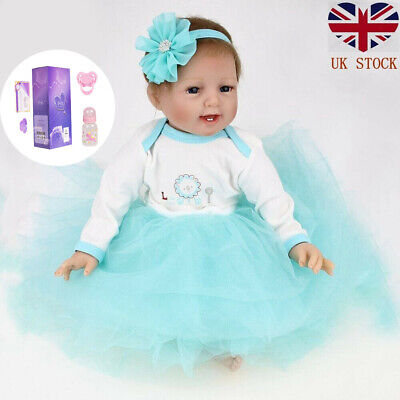 Real Lifelike Newborn Reborn Baby Doll Silicone Vinyl 22in Baby Girl Dolls Gifts