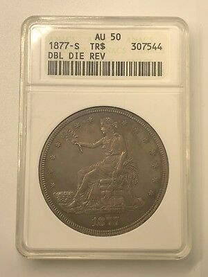 1877-S Trade Dollar AU50 ANACS FS-802 Double Die Reverse