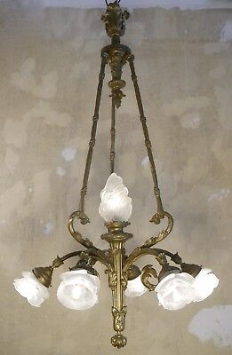 7 Light Huge French Bronze Antique Chandelier Satined Glass Old Art Deco Brass