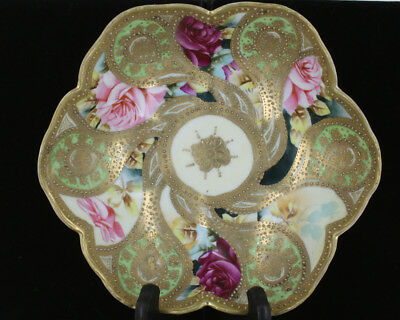 Antique Nippon Hand Painted Three Footed Bowl Moriage Gold Pink Roses Elaborate