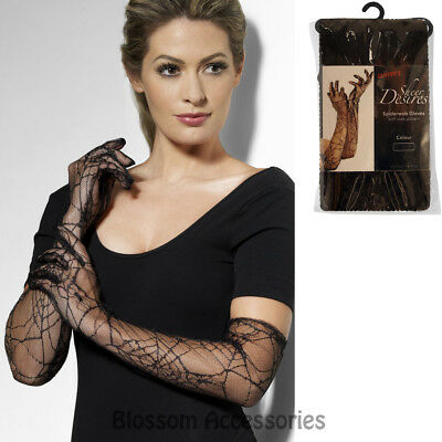 A784 Black Lace Spiderweb Witch Halloween Costume Long Gloves Steampunk Widow