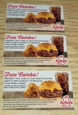 Set of Three 3 Arbys Free Combo Value Meal Voucher Cards No Expiration Gift Card