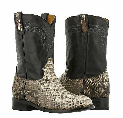 Mens Real Python Snake Skin Western Cowboy Boots Genuine Leather Roper Toe