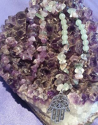 Wow - Amazing Handcrafted One Of Kind Fluorite, Amethyst & Hamsa Hand Necklace