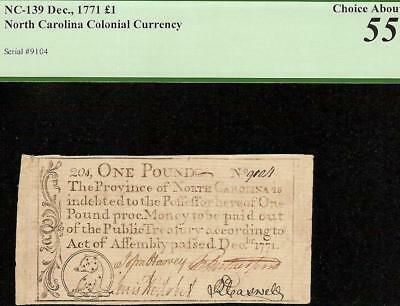 1771 Colonial Currency Little Bear North Carolina Note Paper Money Pcgs 55