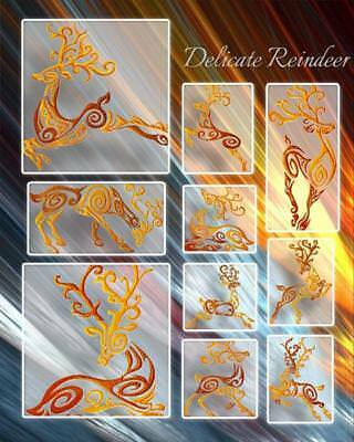 Delicate Reindeer 10 Machine Embroidery Designs 4 Sizes
