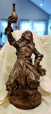 Large Bronze Musketeer Sculpture Signed Emile Peynot Fine Quality Grea Patina