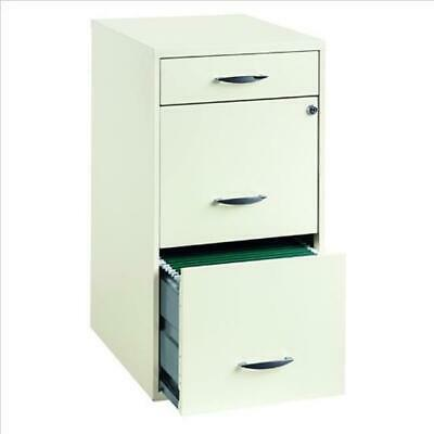 Lorell HID19157 18 in. File 3-Drawer Prl - White