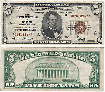 1929 $5 Federal Reserve Bank Note Boston F-1850-A Very Fine