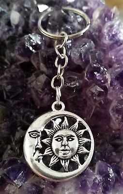 WOW - STUNNING SILVER PLATED SUN & MOON CHARM ON KEY CHAIN plus black cord
