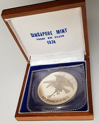 1974 Singapore 10 Dollars $10 Silver Proof Coin  KM# 9.2a 6000 Minted SM Case