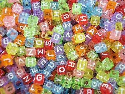 Alphabet Beads 250pc Cubes Transparent Colours Kids Party Jewelry FREE POSTAGE