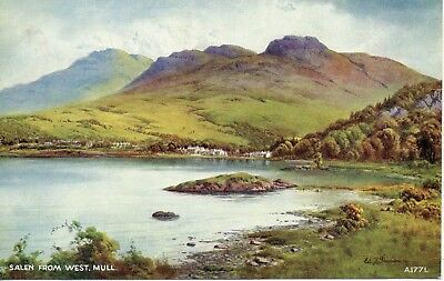 Salen From West Mull* Water Colour By Edward Thompson * Lovely View (E34)