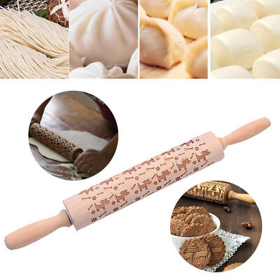 2018 Christmas Embossing Wood Rolling Pin For Baking Professional Dough Roller