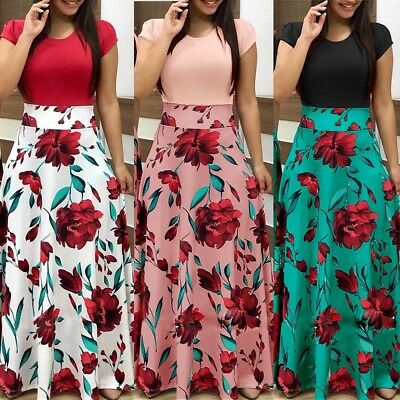 Fashion Women Floral Print Bodycon Casual Cocktail Evening Party Long Maxi Dress