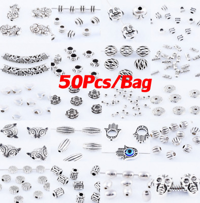50pcs Tibetan Silver Metal Charms Loose Spacer Beads Lot Wholesale 48styles