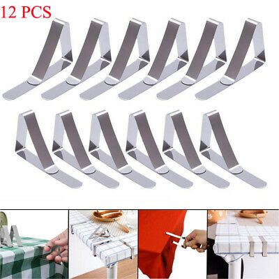 8X Stainless Steel Tablecloth Table Cloth Clips Holder Clamps Wedding Party AA