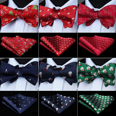 Red Blue Christmas Party Gift Self Bow Tie Mens Silk Bowtie Handkerchief set