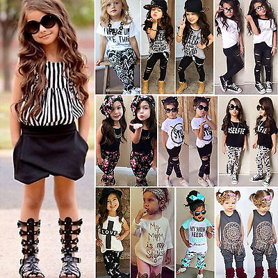 Toddler Baby Kids Girls T-Shirt Top+Pants Tracksuit Outfits Sets Clothes Casual