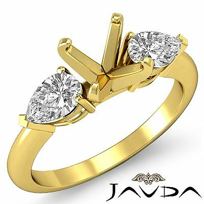 Genuine Diamond Engagement 3 Stone Ring 18k Yellow Gold Pear Round Mount 0.5Ct