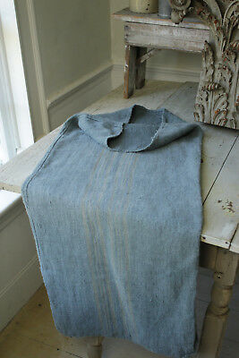 Dyed Gray Blue linen GRAINSACK grain sack with khaki printed stripe 19th century