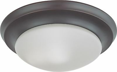 "Nuvo - 12"" Flush Mount LED Light Fixture Frosted Glass Mahogany Bronze - 62-787"