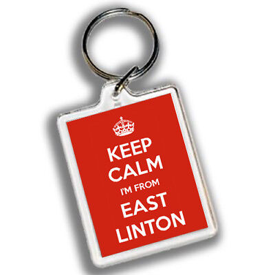 KEEP CALM I'M FROM EAST LINTON Keyring 45mm x 35mm | Carry on | East Lothian