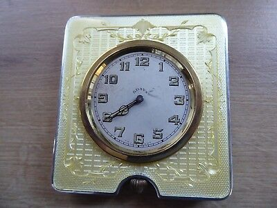 Superb Art-Deco 8 Day Solid Silver Guilloche Enamel Travel Clock C1930 Working
