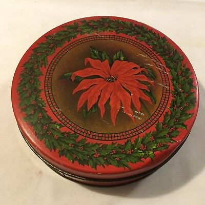 Vtg Antique TinDeco Christmas Cookie Candy Tin w/ Poinsettia Flowers