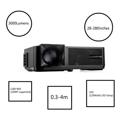 """3000 Lumens1280*800 Native Resolution LED Projector with 28-280"""" Display Large"""