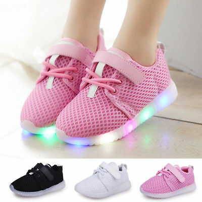 LED Light Up Boys Girls Toddler Luminous Sneakers Kids Casual Sports Shoes