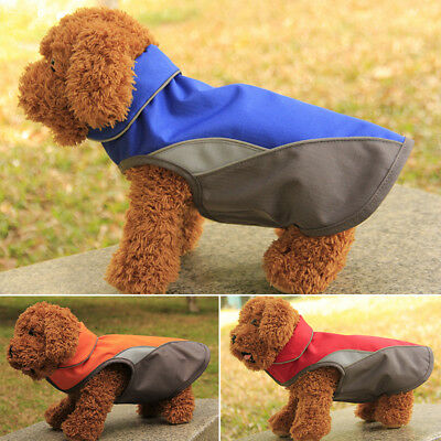 Dog Waterproof Outdoor Raincoat Warm Jacket Fleece Reflective Coat Outwear 2XL