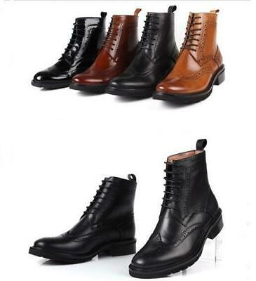 Fashion Womens Chelsea Ankle Boots Wingtip Leather Brogue Oxfords Military Shoes