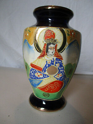 Vintage Japanese Blue Satsuma Gold Gilt Moriage Goddess Hand Painted Vase!