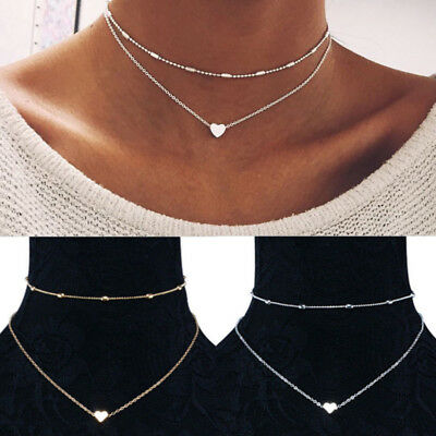 Silver Gold Plated 2 Double Layer Beaded Chain Choker Necklace Heart Pendant YP
