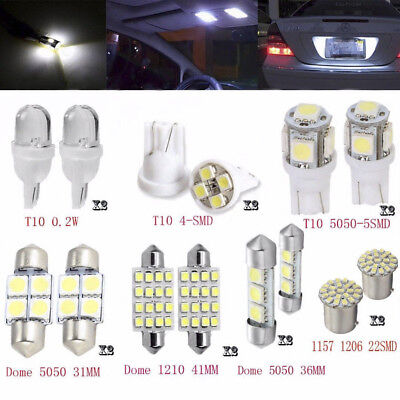 14Pcs White LED Interior Package Kits For T10 36mm Map Dome License Plate Lights