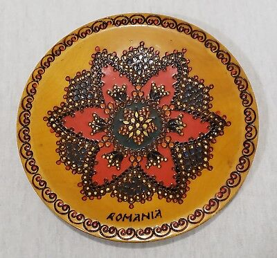 Vintage Romania Pyrography Flower Wood Plate Wall Plaque Folk Art Hand Painted