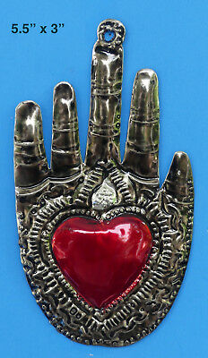 Hand w Heart Milagro Ornament, Punched Tin, Mexican Folk Art, Mexico